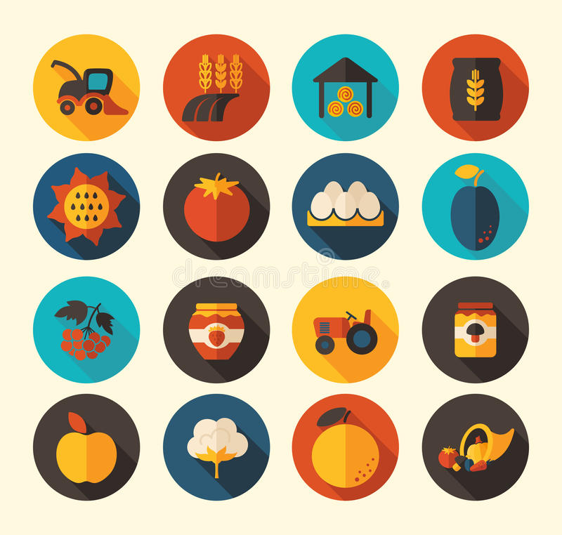 Ícone liso de Autumn Harvest Thanksgiving ilustração royalty free