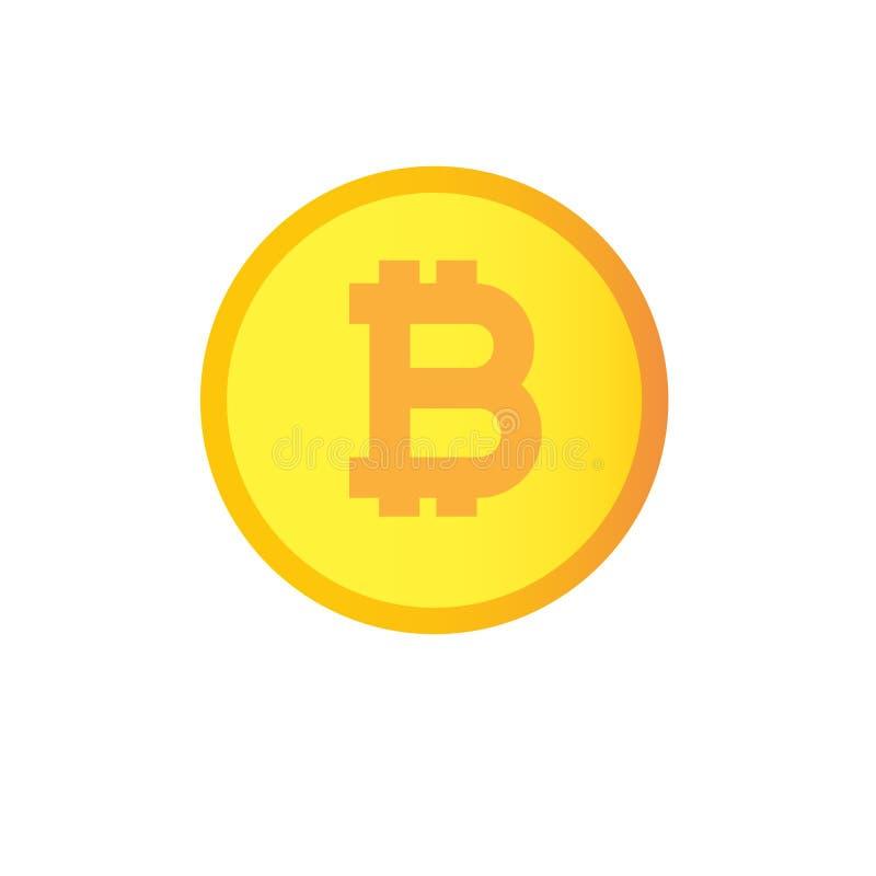 Ícone liso de Bitcoin Moeda cripto do bocado da moeda Embl de Cryptocurrency fotografia de stock royalty free