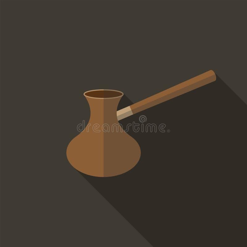 Ícone liso de Cezve ilustração do vetor