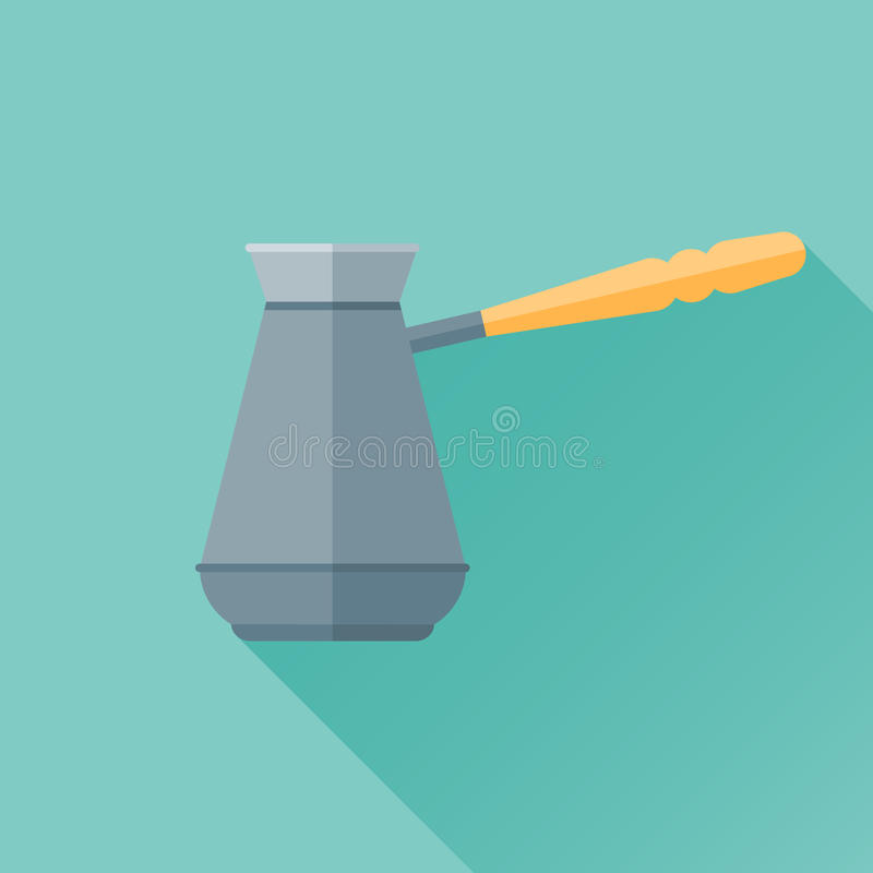 Ícone liso de Cezve com sombra longa Potenciômetro do café turco ilustração do vetor