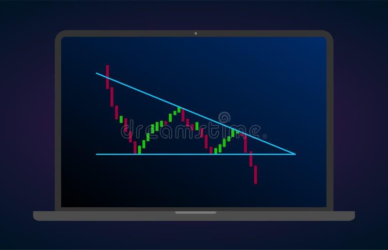 Ícone liso de descida das fugas bearish do triângulo Analítica dos estrangeiros do gráfico da troca do estoque e do cryptocurrenc ilustração stock