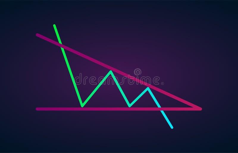 Ícone liso de descida das fugas bearish do triângulo Estoque do vetor e gráfico da troca do cryptocurrency, analítica dos estrang ilustração stock