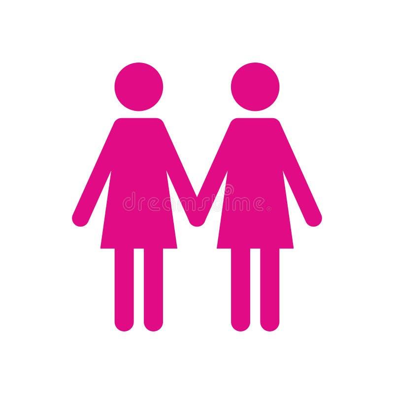 Ícone liso de duas mulheres ilustração royalty free
