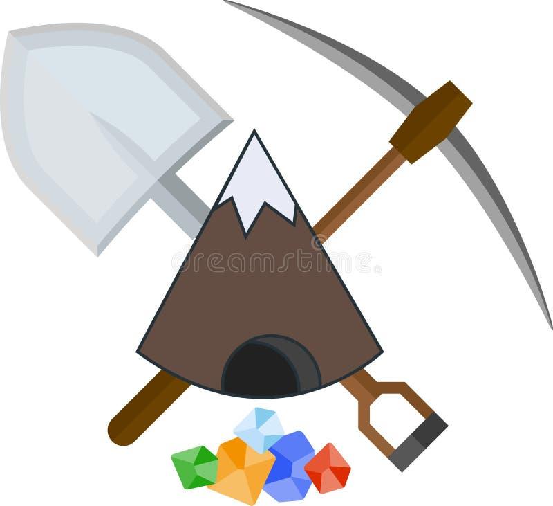 Ícone liso de mineração ilustração do vetor