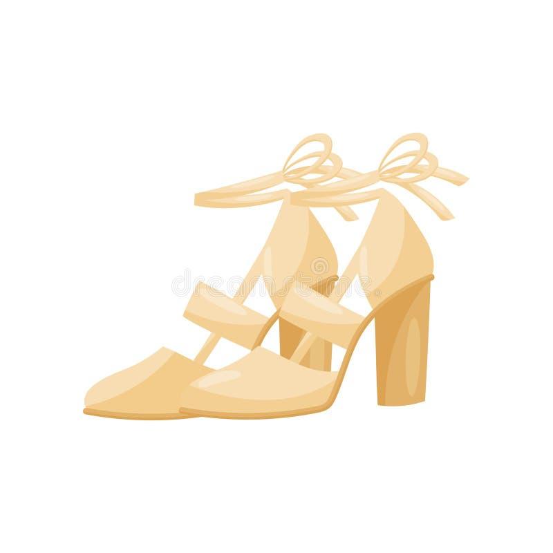 Ícone liso de sandálias das mulheres elegantes nos saltos altos, vista lateral do vetor Sapatas fêmeas com fitas Calçados na moda ilustração stock