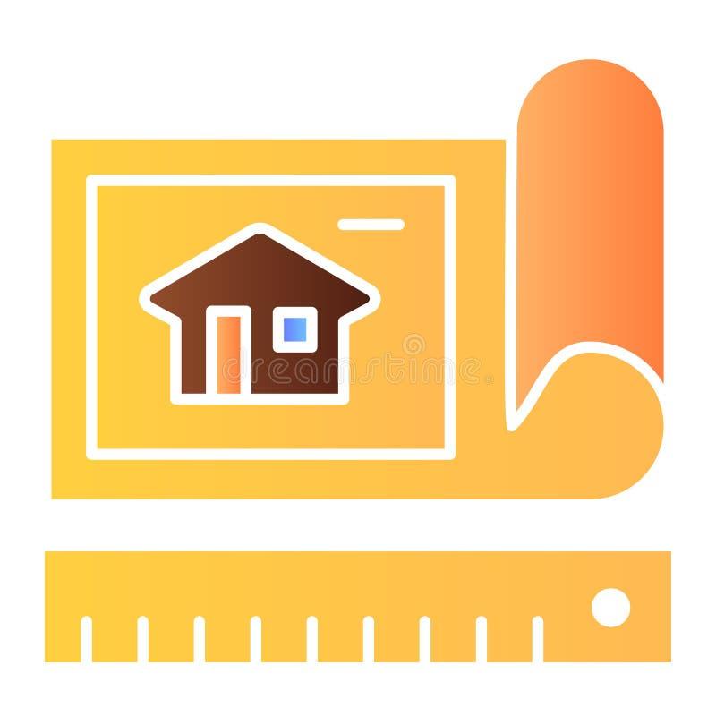 Ícone liso de tiragem do plano Ícones da cor do plano da arquitetura no estilo liso na moda Projeto do estilo do inclinação do pr ilustração stock