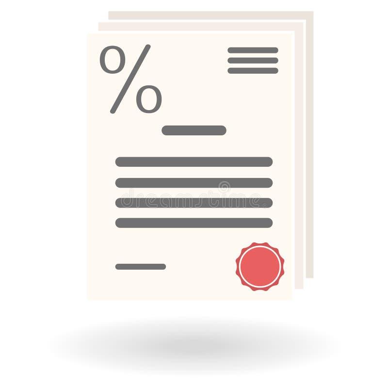 Ícone liso do acordo de empréstimo com sinal de por cento e selo vermelho ilustração royalty free