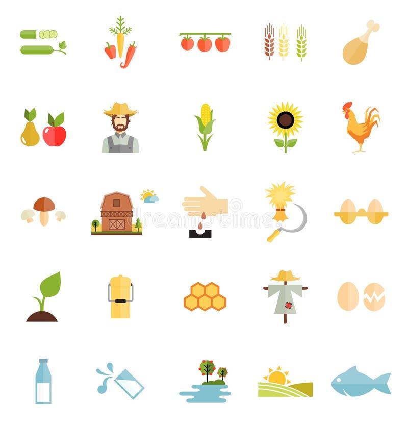 Ícone liso do alimento biológico da exploração agrícola do estilo da variedade ilustração stock