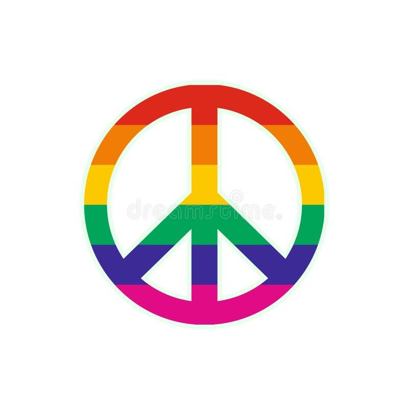 Ícone liso do arco-íris do símbolo de paz ilustração do vetor