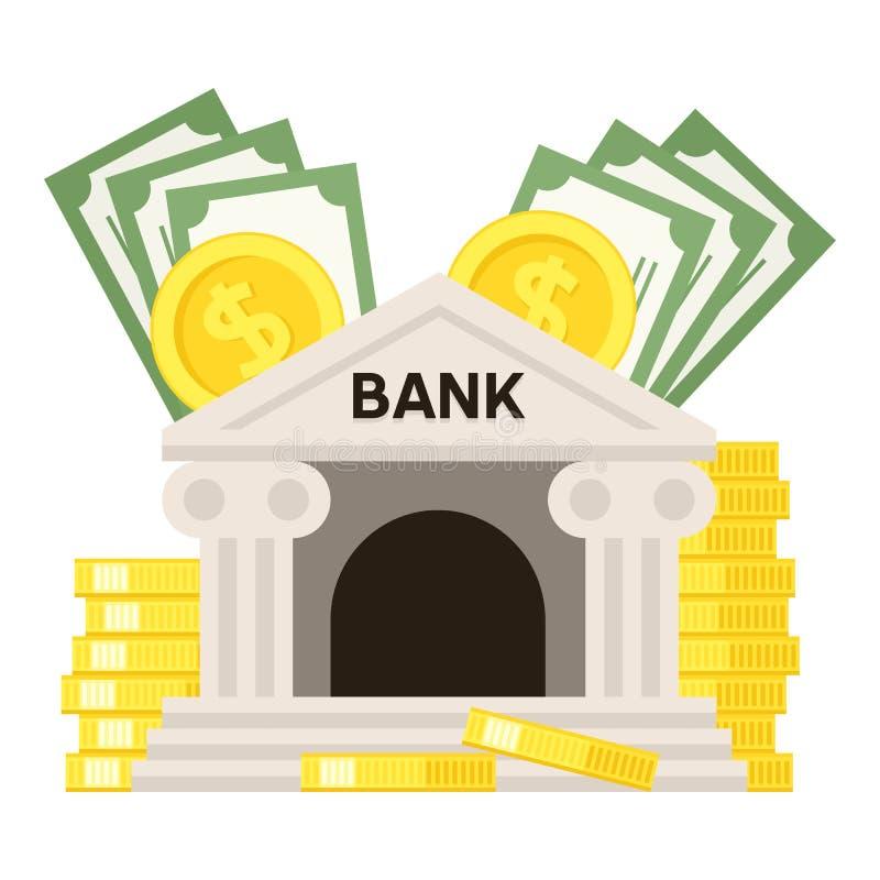 Ícone liso do banco e do dinheiro isolado no branco ilustração stock