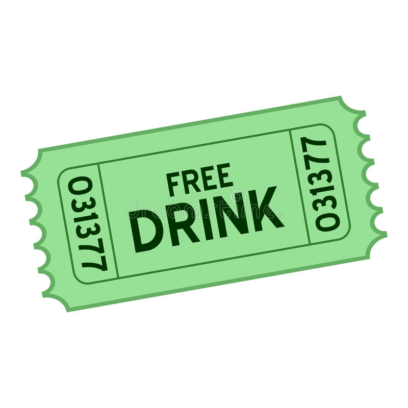 Ícone liso do bilhete livre verde da bebida no branco ilustração do vetor