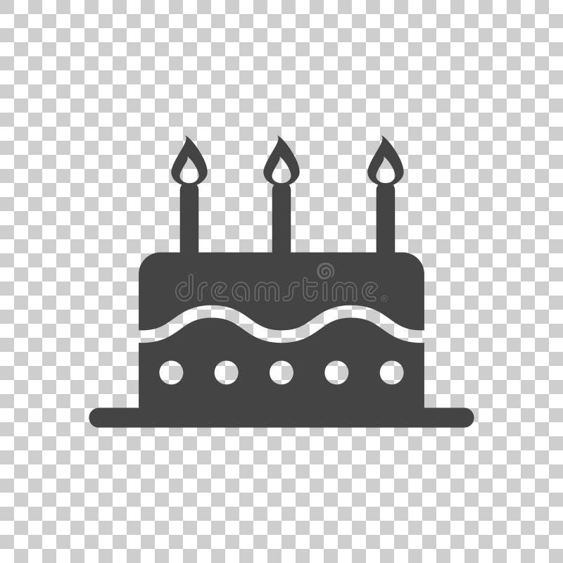 Ícone liso do bolo de aniversário Queque fresco da torta no fundo isolado ilustração do vetor