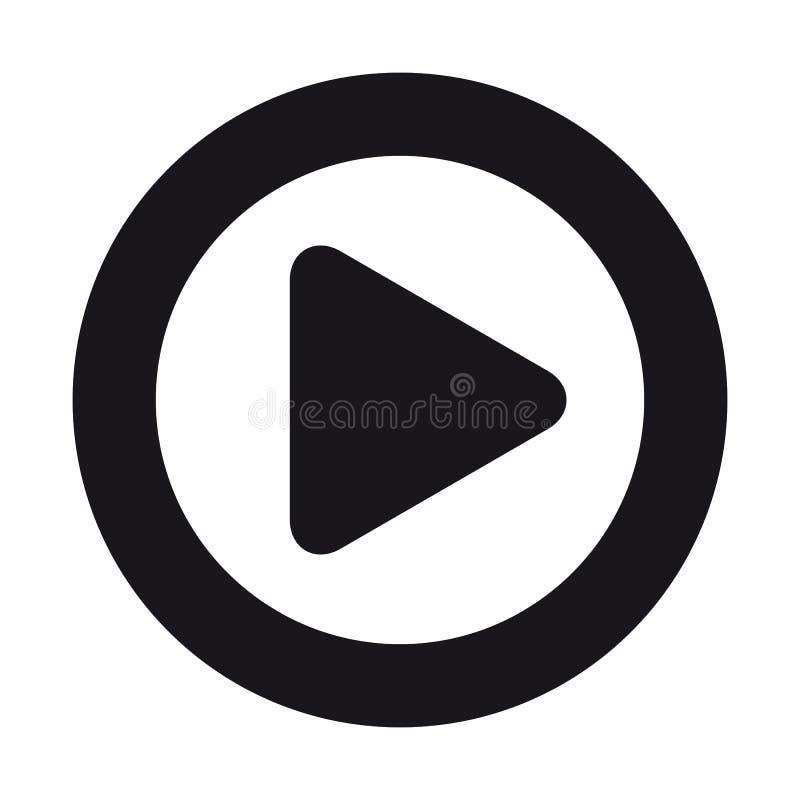 Ícone liso do botão video do jogo dos meios para Apps e Web site - isolados no branco ilustração do vetor