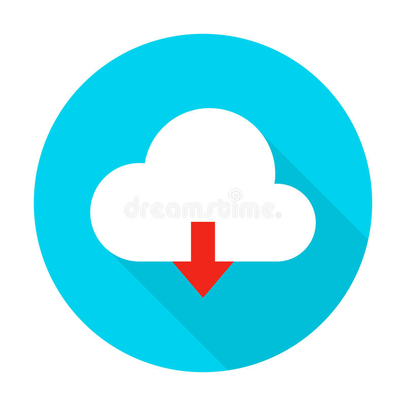 Ícone liso do círculo da transferência de arquivo pela rede da nuvem ilustração stock