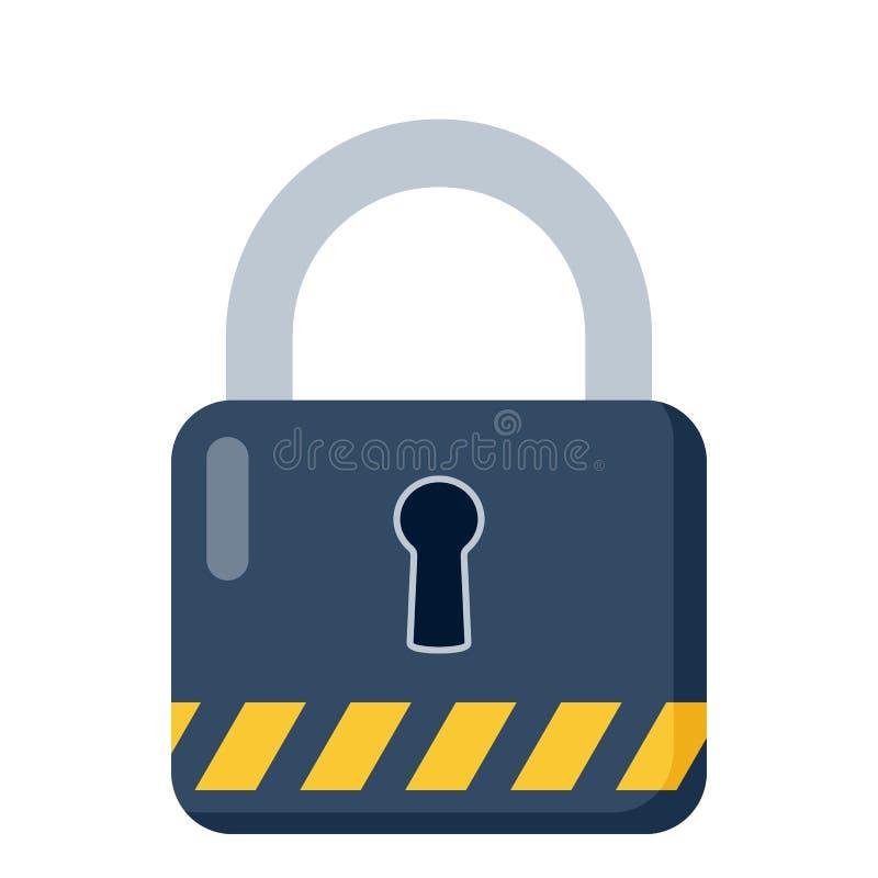 Ícone liso do cadeado azul fechado no branco ilustração stock