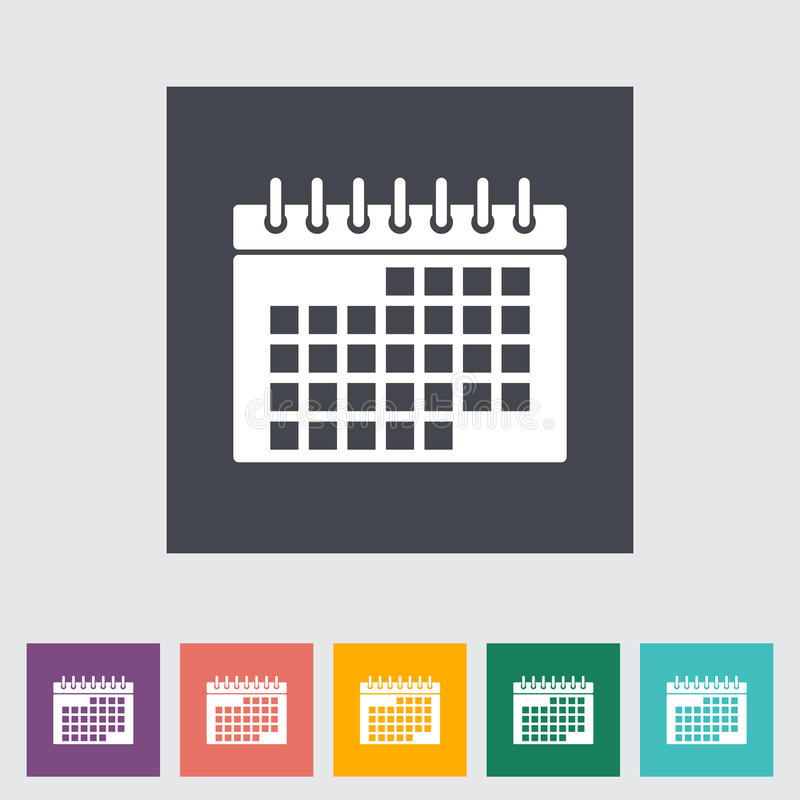 Ícone liso do calendário ilustração do vetor