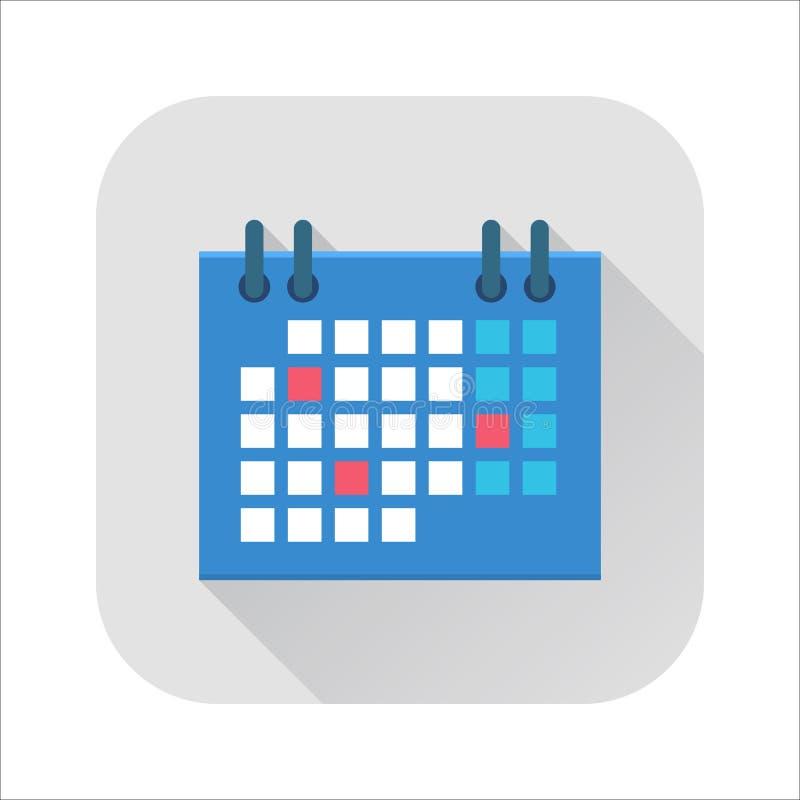 Ícone liso do calendário ilustração stock