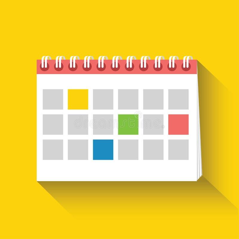 Ícone liso do calendário da tabela Projeto liso Ilustração do vetor ilustração stock