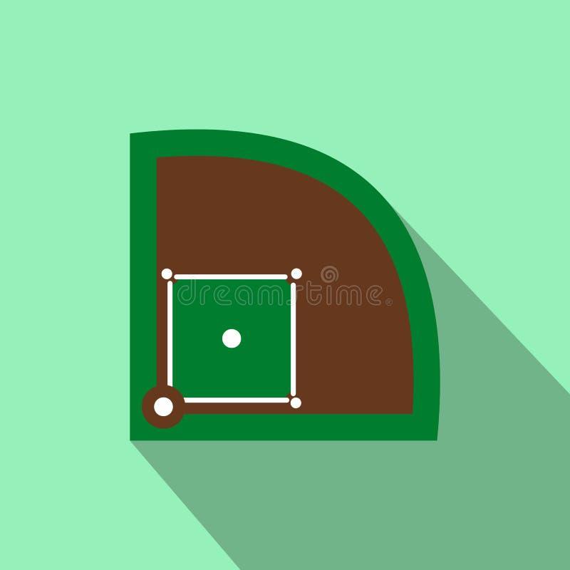 Ícone liso do campo de basebol ilustração stock