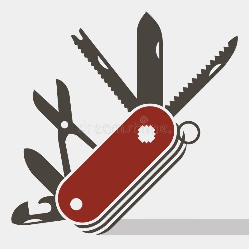 Ícone liso do canivete suíço vermelho ilustração stock