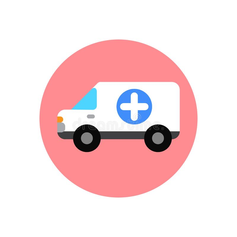 Ícone liso do carro da ambulância Botão colorido redondo, sinal circular do vetor da camionete médica, ilustração do logotipo ilustração stock