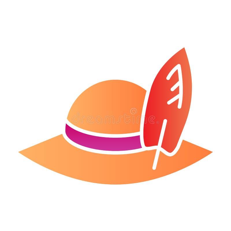 Ícone liso do chapéu dos viajantes Ícones da cor do chapéu de Panamá da praia no estilo liso na moda Projeto do estilo do inclina ilustração stock