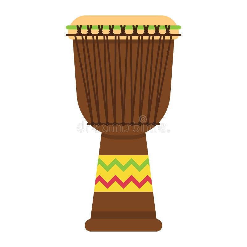 Ícone liso do cilindro de Djembe do africano, música ilustração royalty free