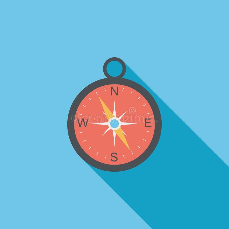 Ícone liso do compasso com sombra longa ilustração stock