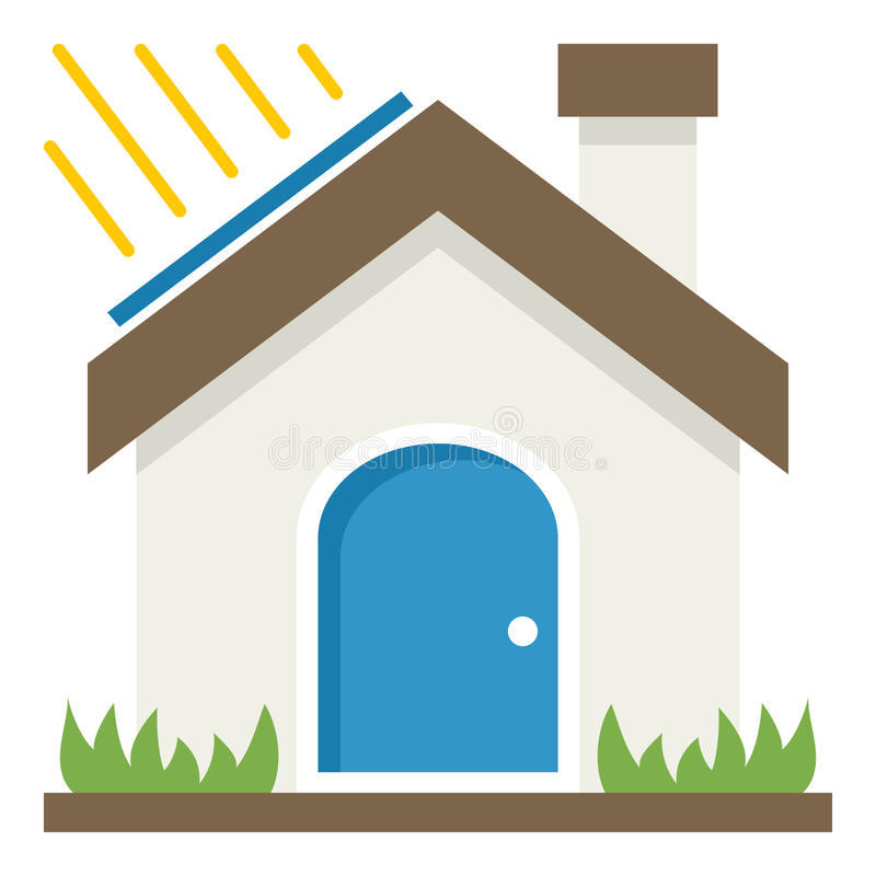 Ícone liso do conceito da casa verde no branco ilustração royalty free