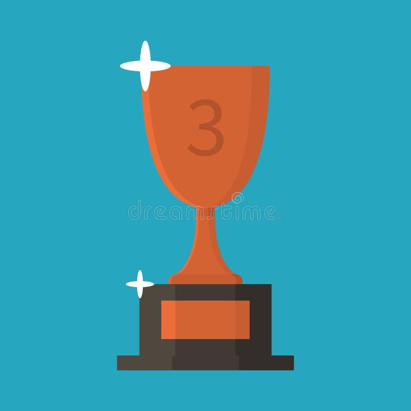 Ícone liso do copo de bronze trophy concessão Terceiro lugar Estilo dos desenhos animados Ilustração do vetor fotos de stock royalty free