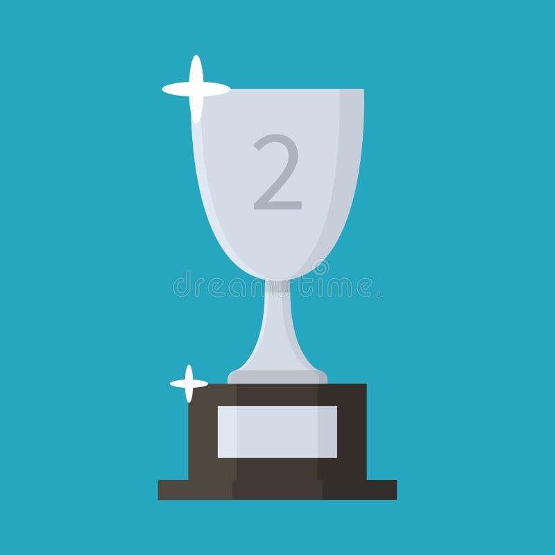 Ícone liso do copo de prata trophy concessão Segundo lugar Estilo dos desenhos animados Ilustração do vetor fotografia de stock royalty free