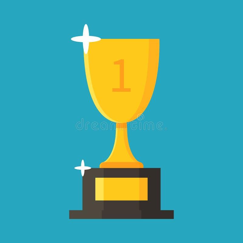 Ícone liso do copo do ouro trophy concessão Primeiro lugar Estilo dos desenhos animados Ilustração do vetor imagem de stock