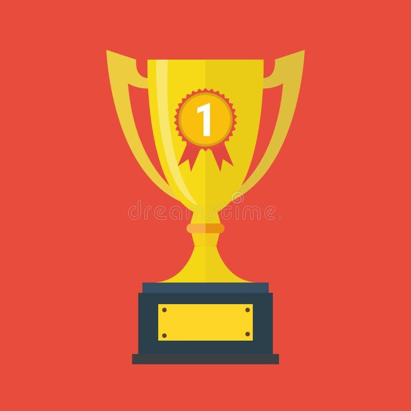 Ícone liso do copo do troféu, estilo liso do projeto do illustion do vetor ilustração do vetor