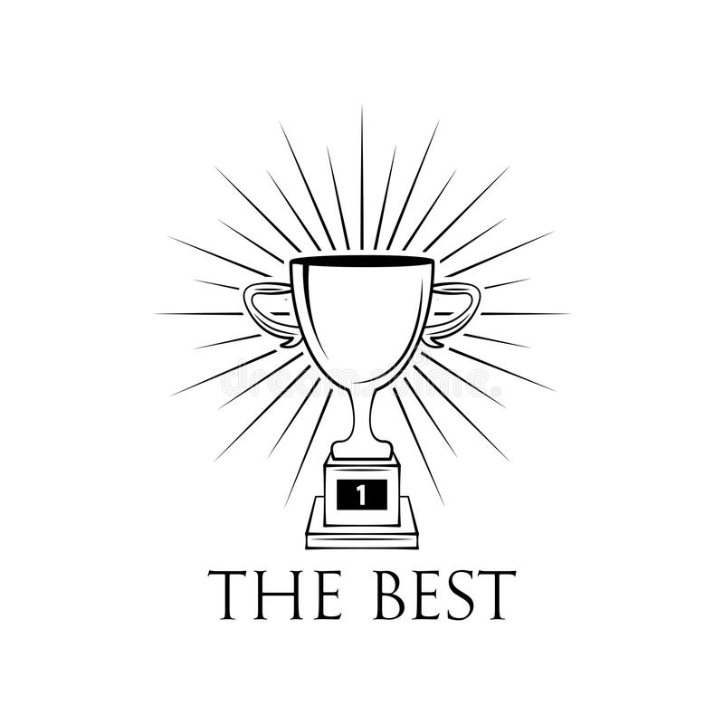 Ícone liso do copo do vencedor com feixes Vetor ilustração royalty free