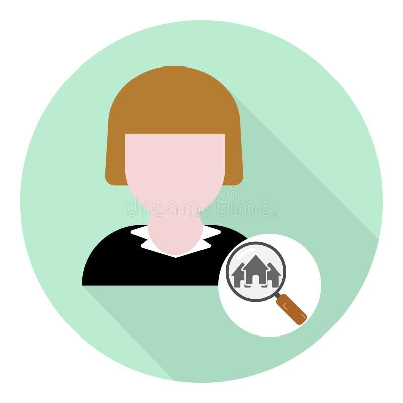Ícone liso do corretor de imóveis fêmea com símbolo da lupa e das casas ilustração royalty free