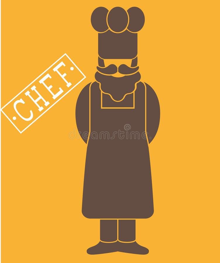 Ícone liso do cozinheiro/padeiro do cozinheiro chefe - um homem com um bigode uma barba que veste um chapéu do ` s do avental e d fotografia de stock royalty free