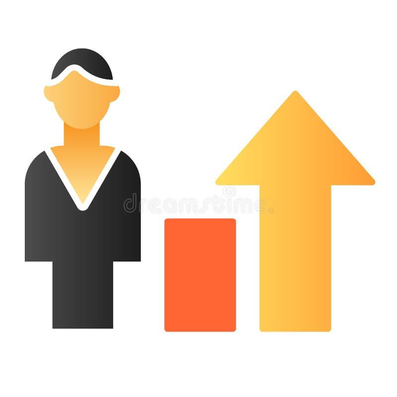 Ícone liso do crescimento da carreira O homem com setas colore ícones no estilo liso na moda Projeto do estilo do inclinação do e ilustração royalty free