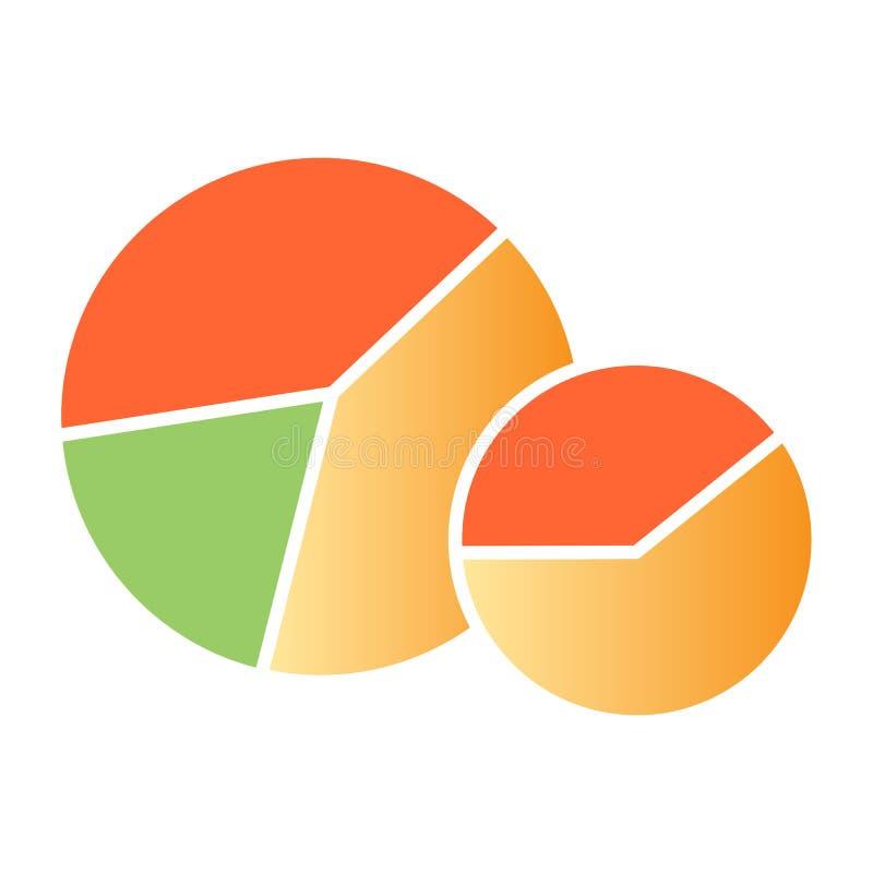 Ícone liso do diagrama Ícones da cor do gráfico de círculo no estilo liso na moda Projeto do estilo do inclinação da carta de tor ilustração royalty free