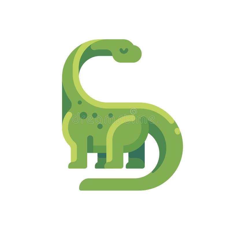 Ícone liso do diplodocus verde Dinossauro herbívoro necked longo ilustração royalty free