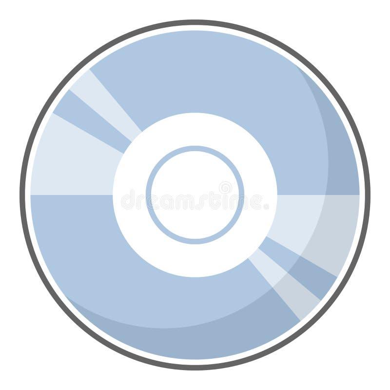 Ícone liso do disco do CD ou do DVD isolado no branco ilustração royalty free