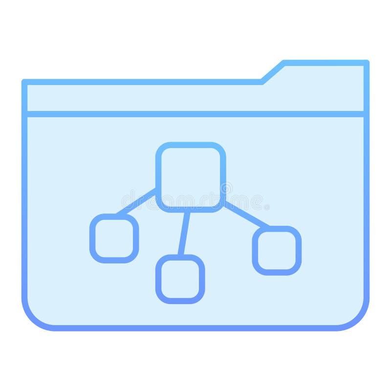Ícone liso do dobrador da árvore de arquivo Dobrador com ícones azuis do documento no estilo liso na moda Projeto do estilo do in ilustração stock