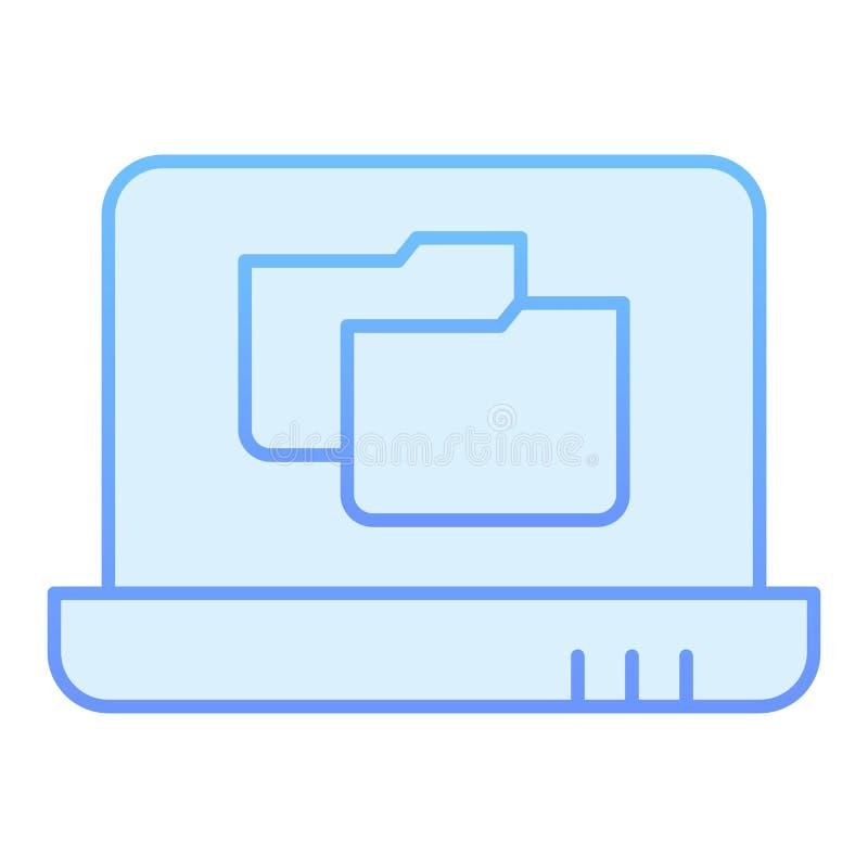 Ícone liso do dobrador do portátil Pasta de arquivos em ícones azuis do caderno no estilo liso na moda Projeto do estilo do incli ilustração royalty free