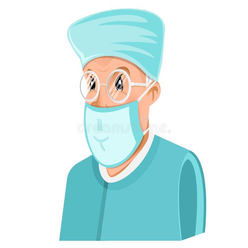 ?cone liso do doutor ou o homem do dentista com espet?culos e m?scara cir?rgica no branco ilustração do vetor
