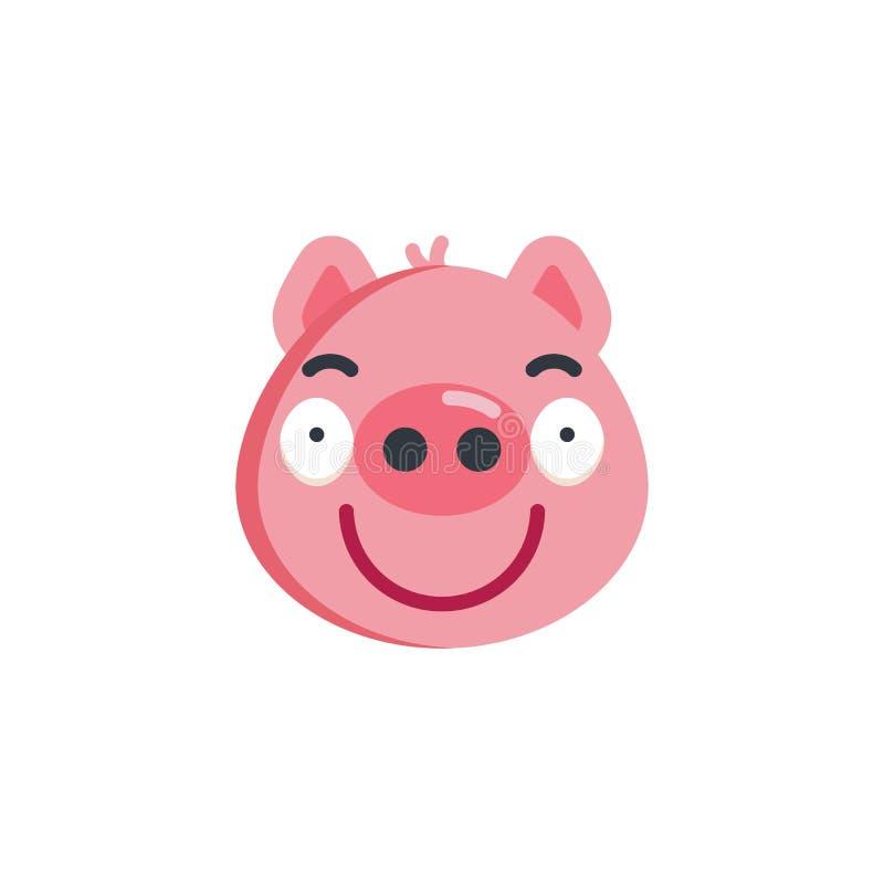 Ícone liso do emoji leitão Sassy da cara ilustração stock