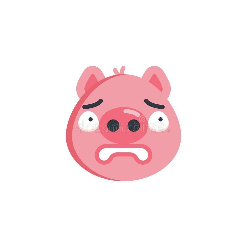 Ícone liso do emoticon temível da cara, ilustração stock