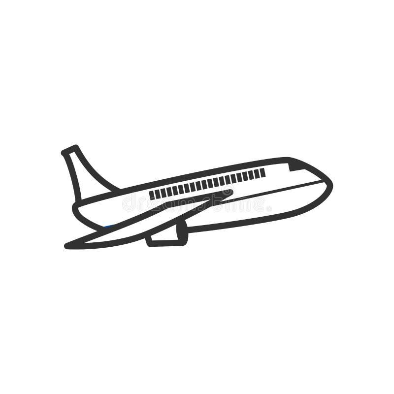 Ícone liso do esboço do avião no branco ilustração stock
