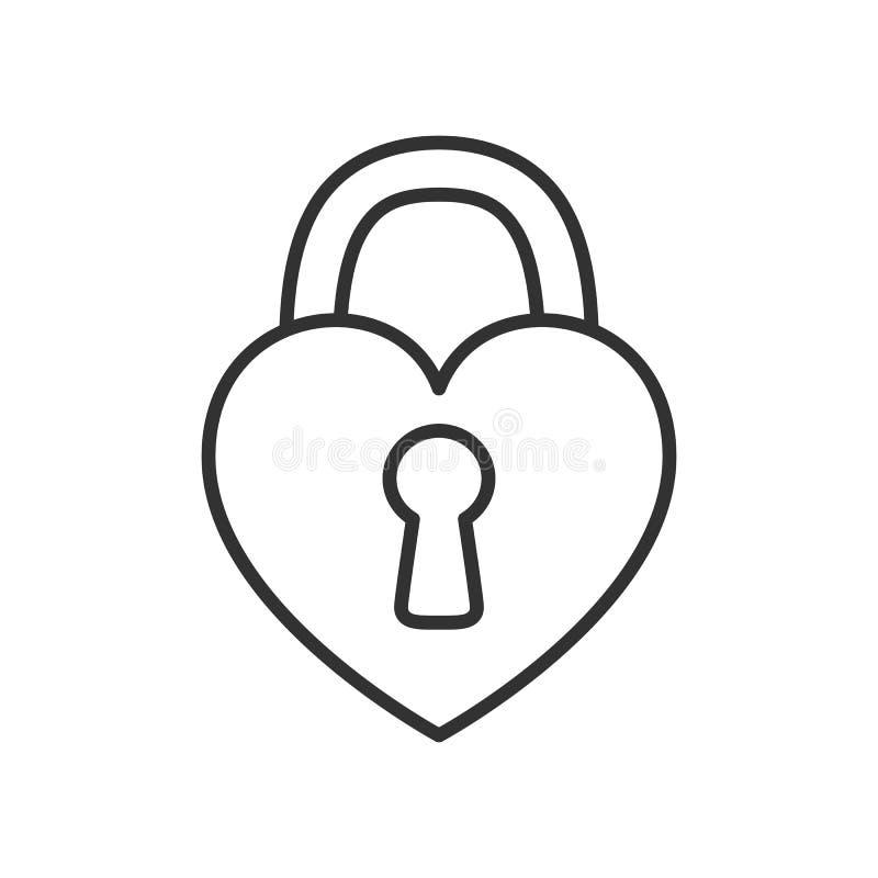 Ícone liso do esboço do cadeado do coração no branco ilustração royalty free