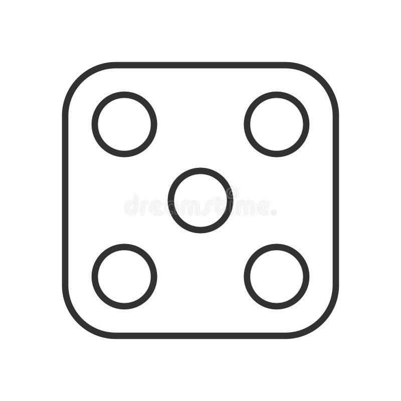 Ícone liso do esboço do casino dos dados no branco ilustração do vetor