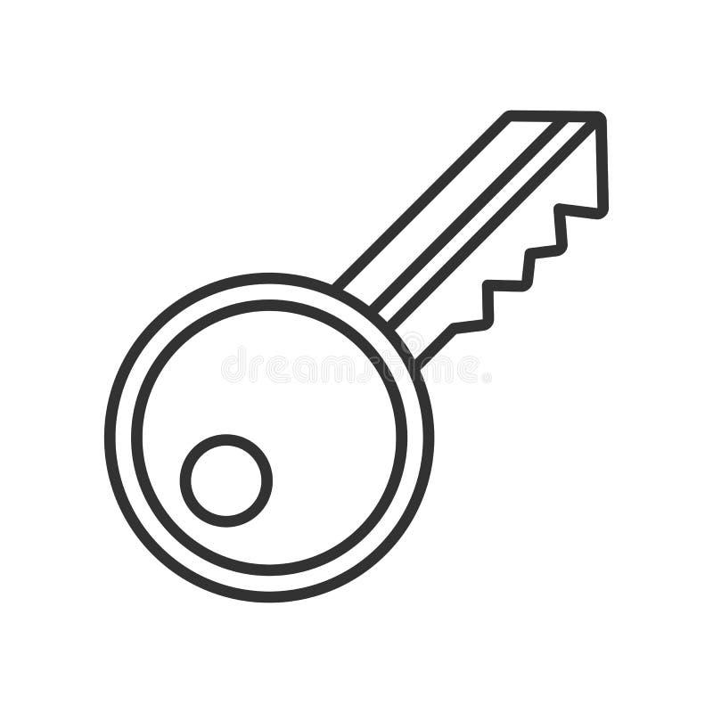 Ícone liso do esboço chave no branco ilustração stock
