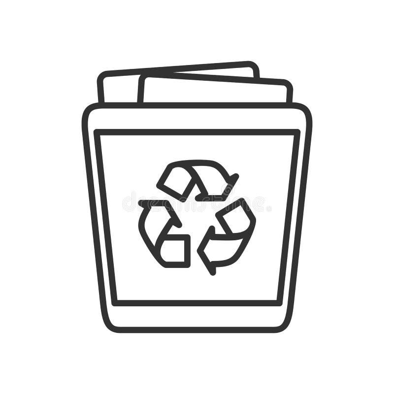 Ícone liso do esboço completo do escaninho de lixo no branco ilustração stock